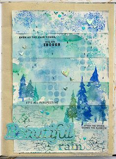 Layers of ink - Rain Art Journal Page Tutorial by Anna-Karin Evaldsson. With Simon Says Stamp Forest Scenery stamp set. Art Journal Backgrounds, Art Journal Pages, Art Journals, Journal Ideas, Paper Background, Background Patterns, Holographic Paper, Forest Scenery, Simon Says Stamp Blog