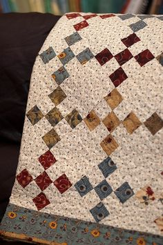 Nine - Patch: beautiful Irish chain quilt in reds, blues, greens, golds, and browns. Patchwork Quilt, Scrappy Quilts, Easy Quilts, Small Quilts, Colchas Quilting, Machine Quilting, Quilting Projects, Quilting Designs, Quilting Ideas