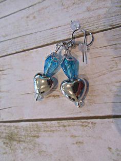 Aqua Valentine Earrings, Silver Heart Earrings, Valentine Jewelry, Blue Earrings,Valentine Gifts, Mothers Day Gifts, Birthday Gifts,Earrings by BrownBeaverBeadery on Etsy