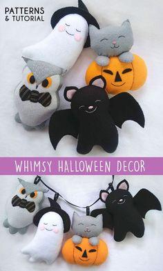 Felt Crafts Patterns, Felt Crafts Diy, Felt Diy, Fall Crafts, Holiday Crafts, Pdf Patterns, Felt Decorations, Diy Halloween Decorations, Halloween Crafts