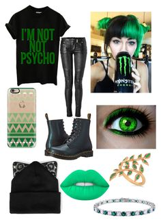 """""""Untitled #83"""" by davinaespinosa ❤ liked on Polyvore featuring Allurez, Miadora, Casetify, Dr. Martens, Lime Crime, Silver Spoon Attire and Balmain"""