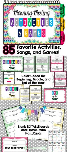Meeting Activities & Games 85 Favorite Community Building Activities, Games, and Songs for Morning Meeting! Inspired by Responsive Classroom Community Building Activities, Building Classroom Community, 3rd Grade Classroom, Kindergarten Classroom, Classroom Meeting, Classroom Environment, Morning Meeting Activities, Morning Meetings, Morning Work
