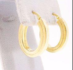 14k Solid Gold Earrings Oval Hoop Design Simple Formal Casual Free Shipping #Hoop