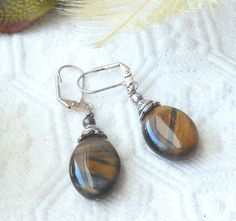 OOAK .925 Sterling Silver Tigers Eye Leverback Dangle Earrings #Handmade #DropDangle