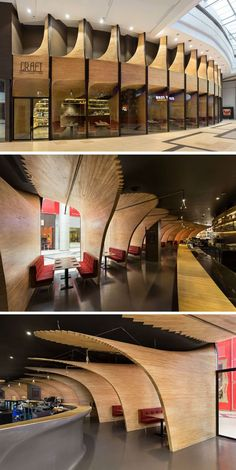 In a world filled with restaurants that have standard conventional facades, this restaurant has changed things up by including a series of sculptural wood elements in the design to give itself a unique identity. Design Café, Facade Design, Store Design, Restaurant Interior Design, Cafe Interior, Interior And Exterior, Commercial Design, Commercial Interiors, Restaurants