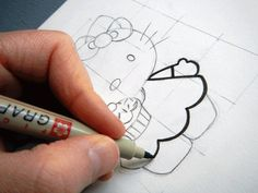 How to draw Hello Kitty with grid method... by Mia Moon