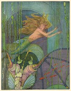 "artofnarrative: "" Mermaid ~ The Magical Man of Mirth ~ Illustrated by Elenore Plaisted Abbott & Helen Alden Knipe ~ 1910 ~ via ""Without Waiting for Assistance, the Charming Mermaid Glided Forth"" More illustrations from this lovely work can be found. Vintage Mermaid, Mermaid Art, Mermaid Canvas, Hans Christian, Fantasy Kunst, Fantasy Art, Tarot, Mermaid Pictures, Mermaid Pics"