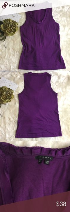 """Theory sz XS Purple Ruffle Collar Tank Eggplant Theory sz XS Purple Ruffle Collar Tank Eggplant   in perfect used condition ruffle tank.    Shoulders: 11.25"""" Chest: 16""""  Waist: 15.5""""  Length: 25.5  0071  Fabric Content: 50% Pima Cotton 50% Modal the ruffles around the collar at 100% silk.   ∞∞∞∞∞∞∞∞∞∞∞∞∞∞∞∞∞∞ As always I follow all Postmark rules. No Trades. Please make all offers through the offer button - lots of love girls! Theory Tops Tank Tops"""