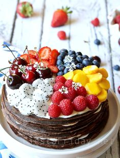 This chocolate crepe cake with fluffy cream cheese filling looks deceptively difficult, but is easy to make and assemble. If you can make crepes, you can make a crepe cake! Chocolate Crepes, Chocolate Cheesecake, Best Cake Recipes, Dessert Recipes, Crape Cake, Crepes Party, Crepe Ingredients, Fancy Cakes, Sweet Desserts