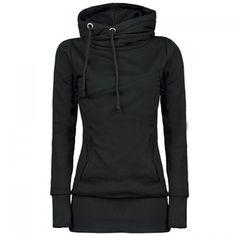 Long Sleeves Hooded Draw String Pockets Beam Waist Korean Style Casual Women's Hoodie, BLACK, M in Sweatshirts & Hoodies | DressLily.com