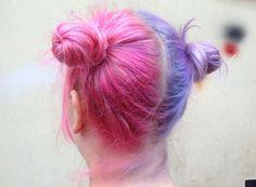 half pink & half purple hair <3