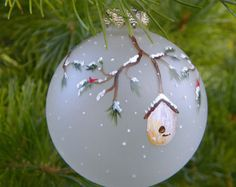 Cardinal & Bird House Christmas Ornament, Frosted Glass, Hand Painted Holiday Gift