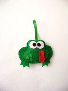 Felt Holiday Ornament  Dale the Green Frog by RedMarionette