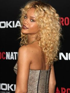 Rihanna blond curly hair