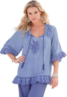 Tropical Romance Eyelet Tunic