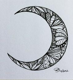 Creative trendy moon tattoo