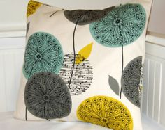 mustard teal grey pillow cover, dandelion flower cushion cover 18 inch - made to order. via Etsy. Yellow Cushion Covers, Grey Pillow Covers, Grey Pillows, Cute Pillows, Decorative Pillow Covers, Mustard Cushions, Yellow Cushions, Blue Carpet Bedroom, Gray Bedroom