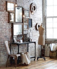 Could create a wall of brick across from the fireplace in the dining area kdr  Vintage Industrial Decor | Sonoma Christian Home