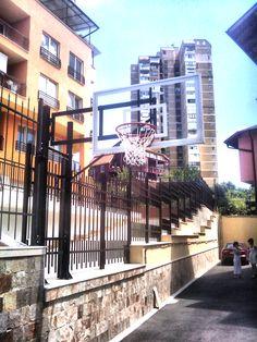 Fence-mounted basketball system