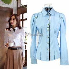 New M XXL Fashion Women Office Lady Button Down Shirt Top Blouse Long Sleeve OK | eBay