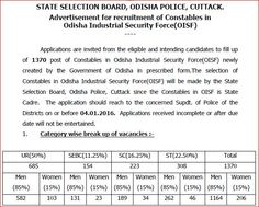 Odisha Police OICF 1370 Constable Recruitment 2015, Odisha Police Department has invited 1370 Constable online form 2015, Candidates apply before 04 January 2016