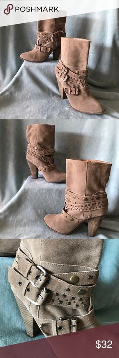 """Franco Fortini boots These Franco Fortini strappy buckle ankle boots are so cute! Style is """"Cole"""" #122355. These are great shape overall, but do have a few spots on them. 5th pic shows 2 spots, one of green color on the heel of boot and one """"wet"""" spot just above heel on the right boot. 6th pic shows 3 small round """"wet"""" spots on the left boot. 7th pic shows 1 """"wet"""" spot just above heel. I did not try to get the spots off, so you might be able to! Leather upper. Balance man made materials…"""