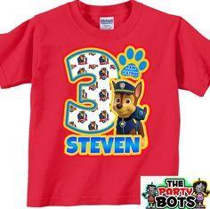 Chase Paw Patrol Birthday boy Shirt - Personalized, Custom