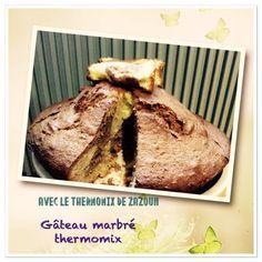 """Ce gâteau est tiré de la recette de """"Ma cuisine 100 façons"""" Themomix. Pour cet excellent gâteau marbré moelleux prévoyez: 300 gr de beurre mou en morceaux 280 gr (250 30) gr de sucre 5 ..."""