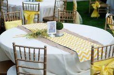 Yellow Rustic Garden Wedding   Confetti Daydreams - Yellow chevron and burlap table runners, nice!