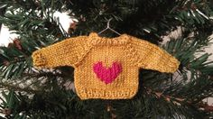 Hand-Knit Mini Sweater Ornament Gold with Heart by KnitNacksShop