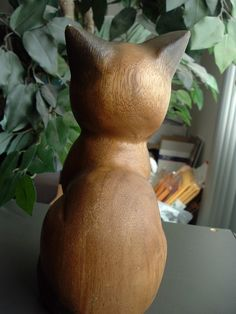 "CAT-HAND CARVED WOOD-8 X 4 X 3""-VERY EXPRESSIVE FACE"