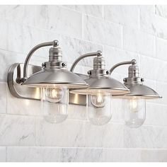 Downtown Edison 28 Wide Brushed Nickel Bath Light is a quality Bathroom Lighting for your home decor ideas. Vintage Bathroom Lighting, Kitchen Sink Lighting, Industrial Bathroom Lighting, Farmhouse Lighting, Modern Industrial, Kitchen Sinks, Bathroom Vintage, Vintage Industrial, 1950s Bathroom