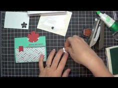 cardmaking video tutorial: Peek A Boo Trifold Card Tutorial ... luv how she makes a latch wih the small banner to hold the top down ... Stampin' Up!