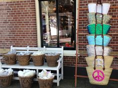 Beautiful bags outside our store on Vlieland, also available online   www.eb-vloed.nl