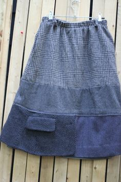 Skirt from wool jackets, etc.