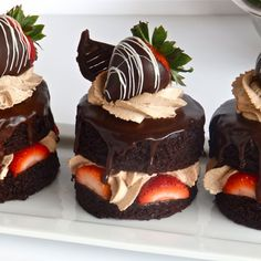 Chocolate covered strawberry shortcakes made with our signature devils food formula.