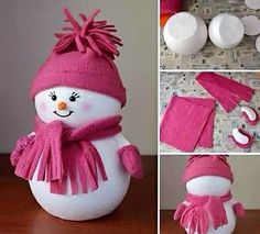Try making with stuffed white material instead of wood. Use what's on hand. Snowman Crafts, Cute Crafts, Christmas Projects, Holiday Crafts, Diy Crafts, Holiday Decor, Pink Christmas Decorations, Christmas Tree Ornaments, Christmas Makes
