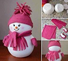 Faire des personnages de Noël en boules polystyrène                                                                                                                                                                                 Mais