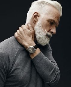 Handsome Gray Haired and Bearded Male