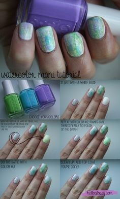 EASY watercolor mani tutorial using @essie Click through for more! #nails #nailart #beauty #tutorial #summer #girly #pretty