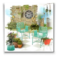 """Garden Patio"" by metter1 ❤ liked on Polyvore featuring interior, interiors, interior design, home, home decor, interior decorating, WALL, Universal Lighting and Decor, Retrò and 123decorate"