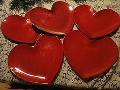 Heart shape dinner plates (5) melamine sparkle red Valentine\u0027s Day Bridal Shower & DII Heart-Shaped 6\u201d Glass Plates - Set of 4   Heart Set of and Plates