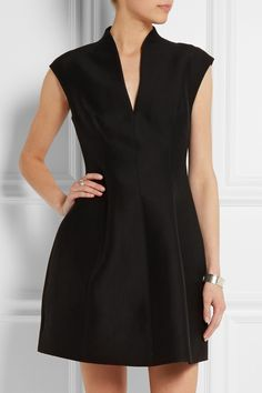 Halston Heritage | Cotton and silk-blend faille mini dress