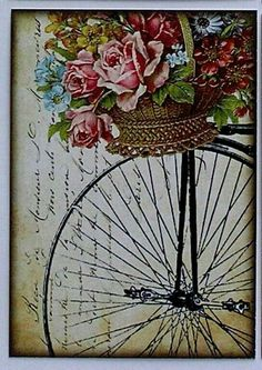 Antique Bicycle with Basket of Roses Digital Collage Sheet Decoupage Vintage, Vintage Diy, Decoupage Paper, Vintage Labels, Vintage Ephemera, Vintage Cards, Vintage Paper, Vintage Postcards, Vintage Bikes