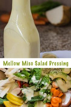 Creamy miso salad dressing with white miso. Tangy and slightly sweet, delicious on green salads and with raw vegetables. With tips for how to prep healthy salad ingredients for salads on the table in 10 minutes, every day. #vegan #glutenfree #probiotic #salad #dressings #miso via @lettyskitchen