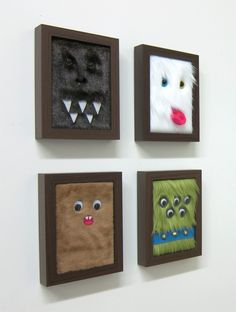 Mette Hornung Rankin, monster portraits, cute diy with wiggly eyes, felt and furry fabric Monster Theme Nursery, Monster Bedroom, Themed Nursery, Holidays Halloween, Halloween Crafts, Halloween Decorations, Projects For Kids, Art Projects, Sewing Projects