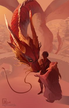 """ming85: """" Been rewatching Avatar and still have so much love for these characters. I enjoy thinking of Iroh meeting Zuko's dragon, sometime after The Search. It would be a nice way of bringing the symbolism of the dragons in their story come full..."""