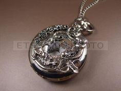 Alice in Wonderland pocket watch Necklace Vintage style Silver Alice in Wonderland Necklace, with Teapot, Cat, Owl and Rabbit