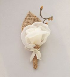 Burlap Wedding Boutonniere Groom Accessory Ivory Rose #rustic #wedding