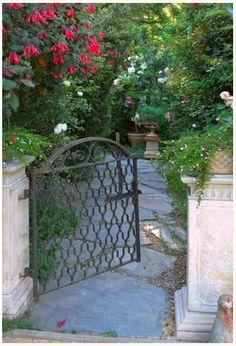 Iron gate opening up to a garden path. Rod iron gate to open into the patio Garden Entrance, Garden Doors, Garden Gates And Fencing, Garden Path, Porches, Entry Gates, Iron Gates, Gate Design, Garden Spaces